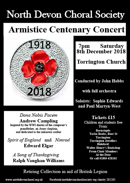 The North Devon Choral Society Performs A Commemoration Concert At Torrington Parish Church With Chorus Soloists And Orchestra